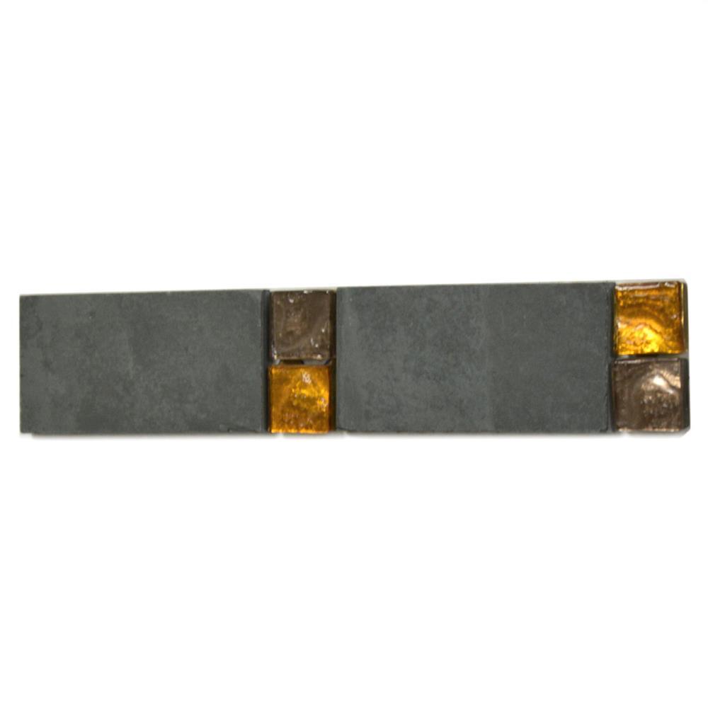 Bordüre Nr.112 Foredil creme anthrazit 3,5 x 31 cm Schiefer Marmor